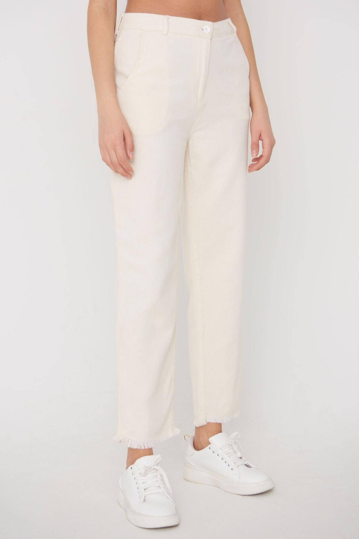 Addax Kadın Ham Paça Detaylı Pantolon Pn11-0049 - K8 Adx-0000023876