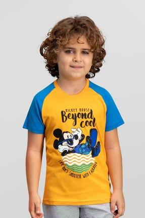 Mickey Mouse Lisanslı Oranj Erkek Çocuk T-Shirt