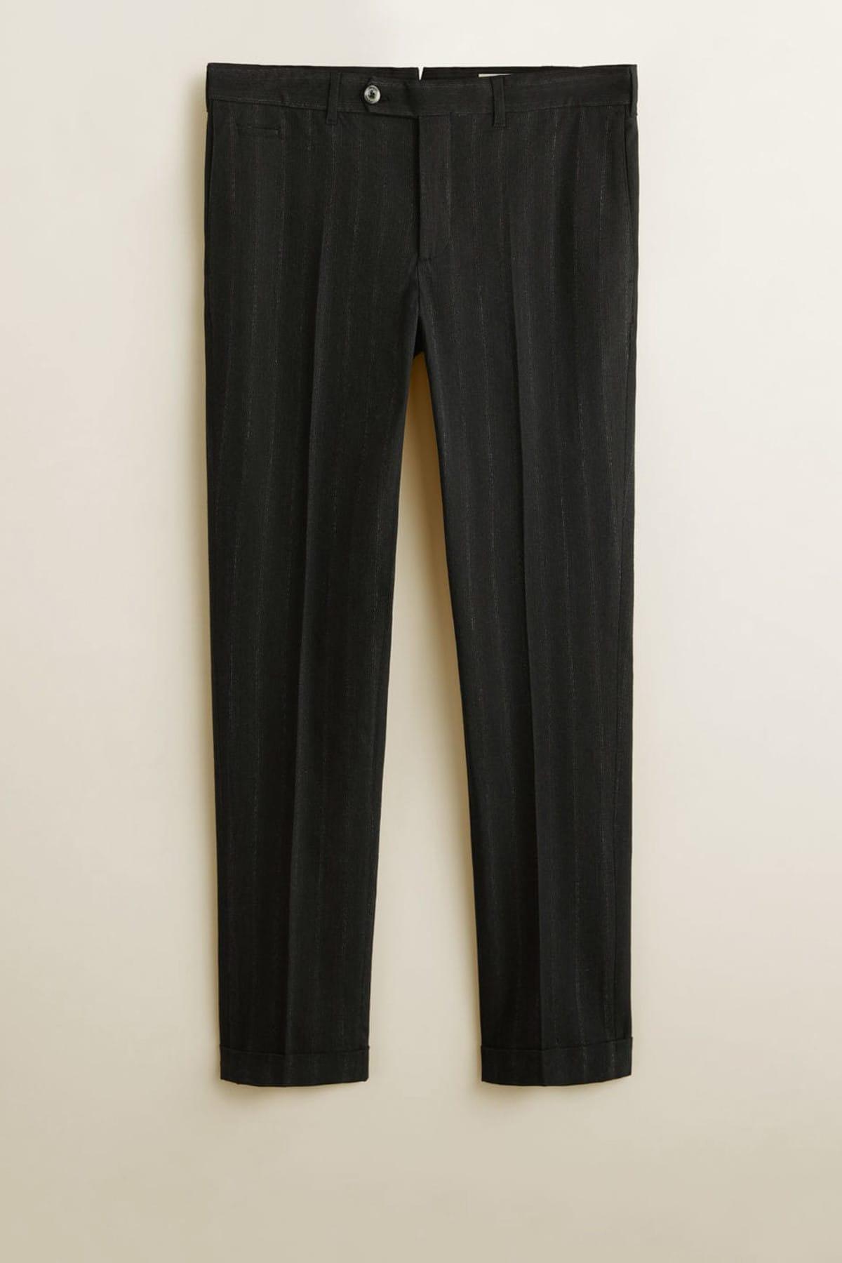 MANGO Man Erkek Siyah Çizgili Koton Pantolon 41040715 2