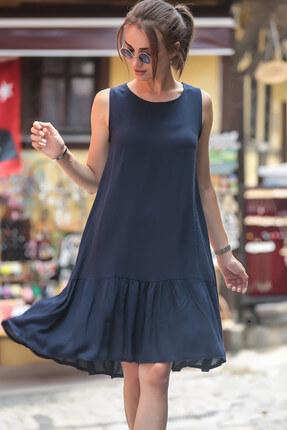 armonika Kadın Lacivert Kolsuz Eteği Fırfırlı Elbise ARM-18Y001156