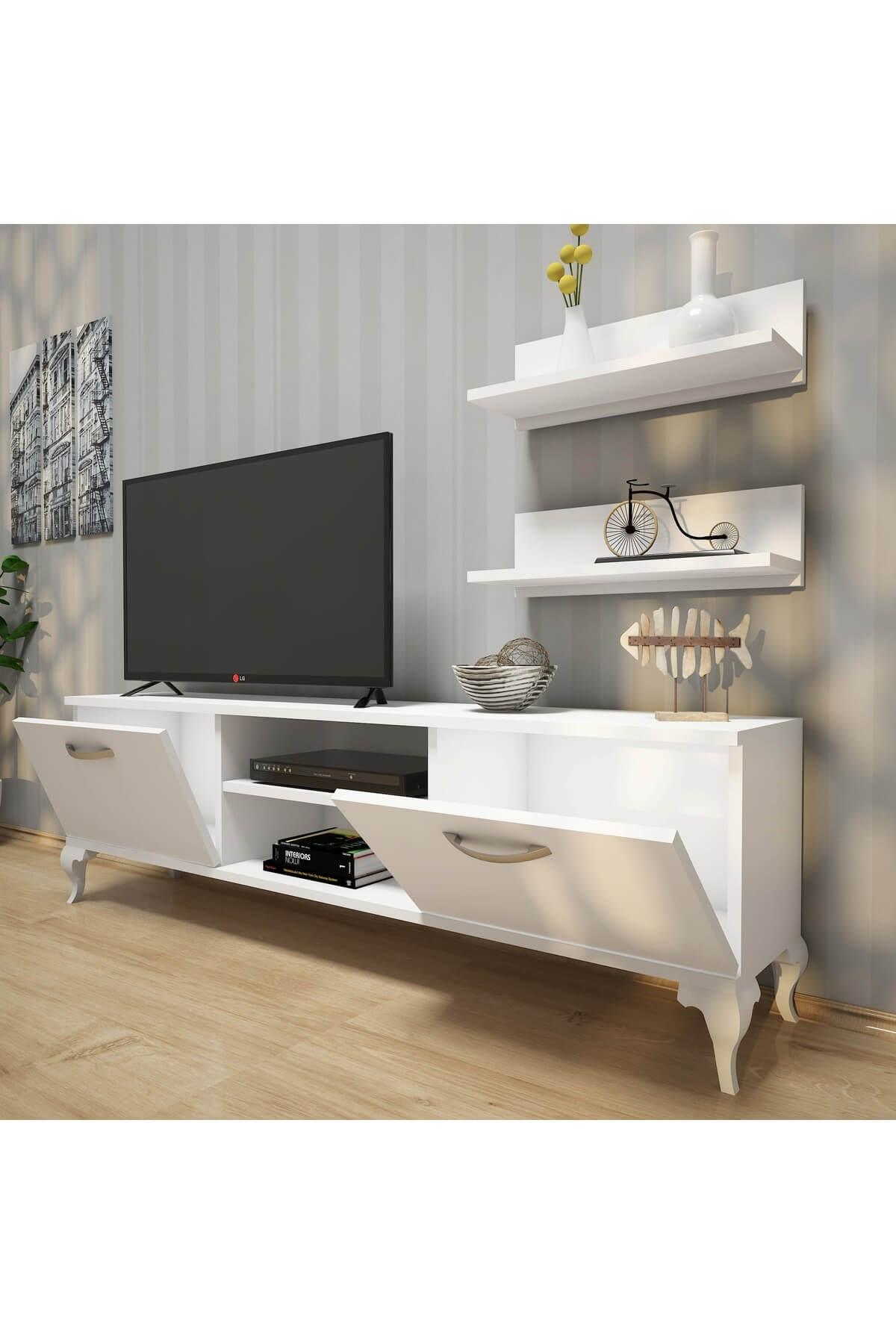 Rani Mobilya A4 Duvar Raflı Tv Sehpası - Kitaplıklı Tv Ünitesi Modern Ayaklı Tasarım Beyaz 2