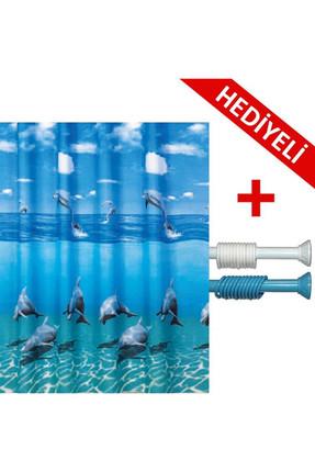 PRADO Dolphin Duş Banyo Perdesi 180x200 Banyo Askısı Hediye BP8852-180X200-H