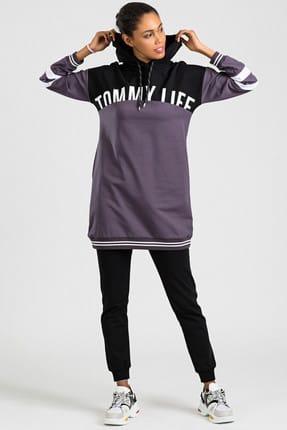 Tommy Life Baskılı Kol Garnili Mor-Siyah Kadın Eşofman Takım 3471