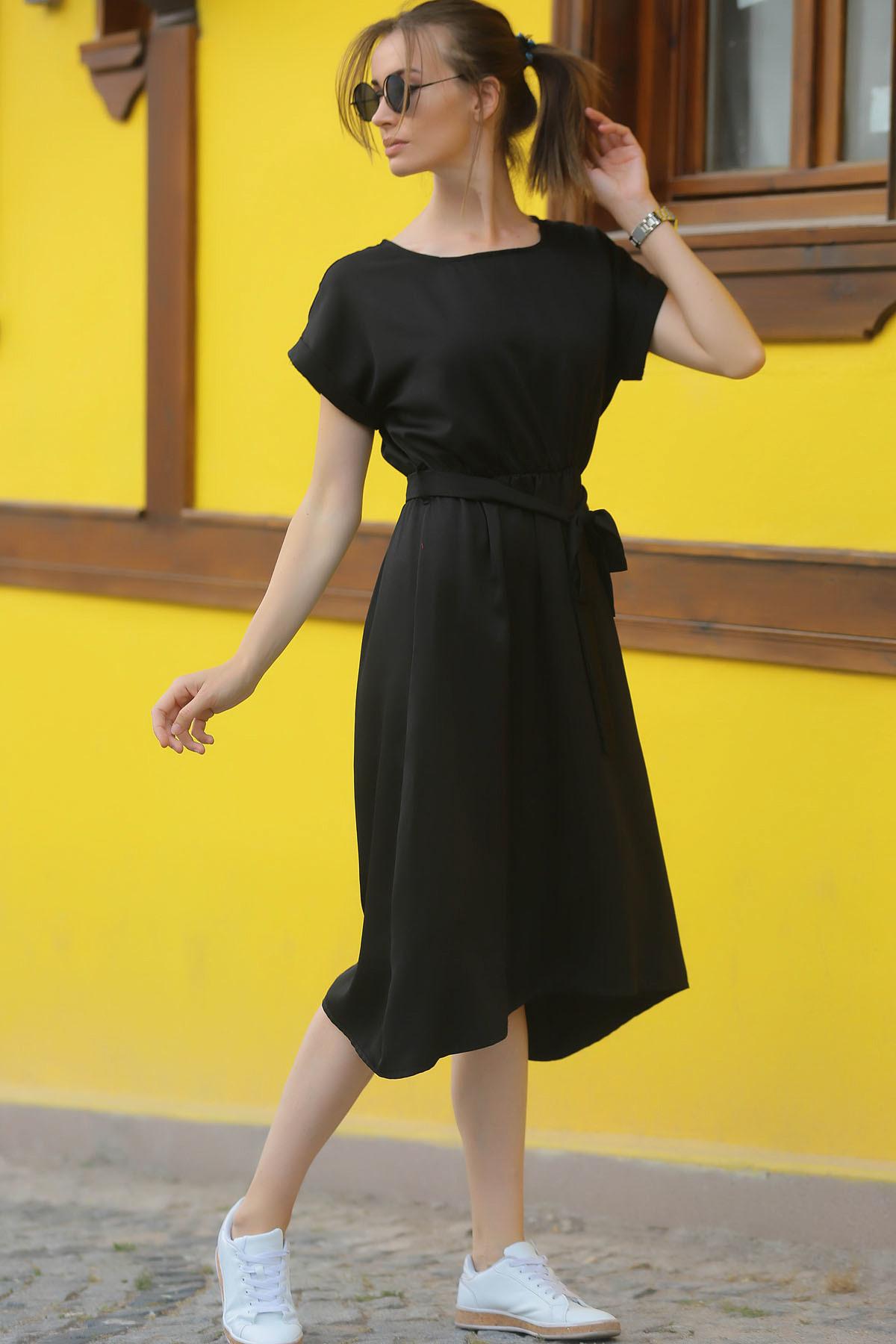 armonika Kadın Siyah Beli Lastikli Bağlamalı Elbise ARM-18Y001133 1
