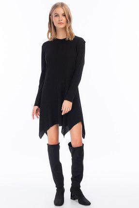 Cotton Mood Kadın Siyah Kalın Fitilli Uzun Kol Çan Tunik Elbise 8411104