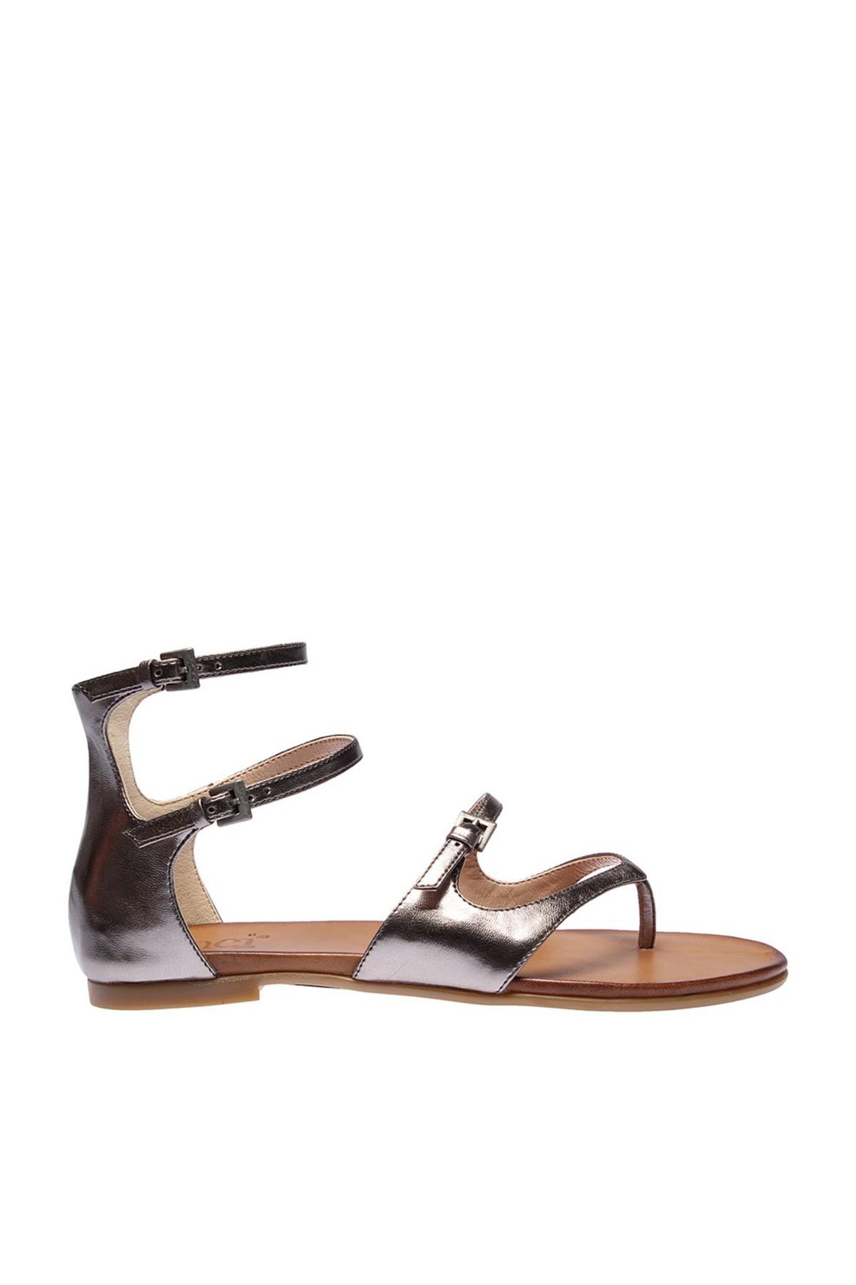 İnci Hakiki Deri Antrasit Kadın Sandalet 120120543046 1