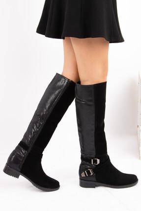 Fox Shoes Siyah Yılan Kadın Çizme E726203402