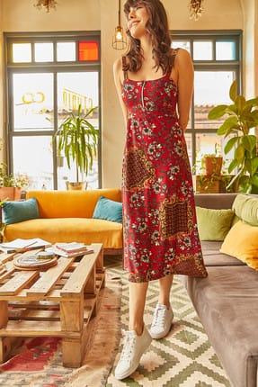 Olalook Kadın Kiremit Fermuarlı Göğüs Destekli Çiçekli İp Askılı Elbise ELB-19000264