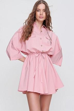 Trend Alaçatı Stili Kadın Pembe Safari Dokuma Gömlek Elbise ALC-X6196