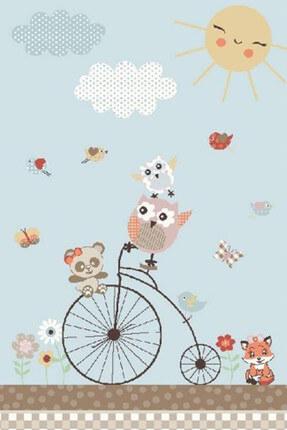 Confetti Sunny Day Oymalı Çocuk Bebek Odası Halısı Mavi-133x190