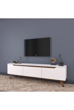 Rani Mobilya D1 Tv Duvar Ünitesi Ahşap Ayaklı Tv Sehpası Beyaz Ceviz