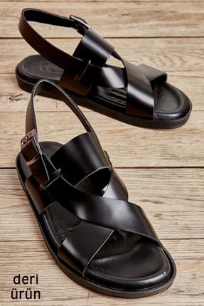 Bambi Hakiki Deri Siyah Erkek Sandalet L1801044903