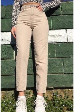 EYLÜL'ÜN BUTİĞİ Kadın Bej Yüksek Bel Mom Jeans Kot Pantolon