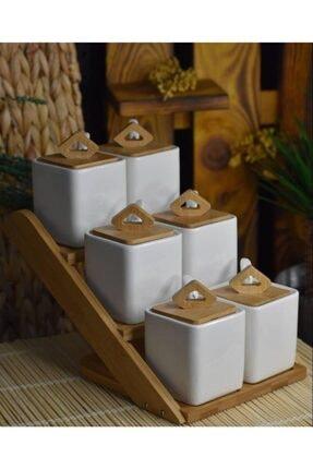 ACAR La Pure 6lı Bambu Standlı Porselen Baharat Takımı 010991