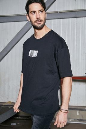 Sateen Men Erkek Siyah Oversize B Yaka T-Shirt