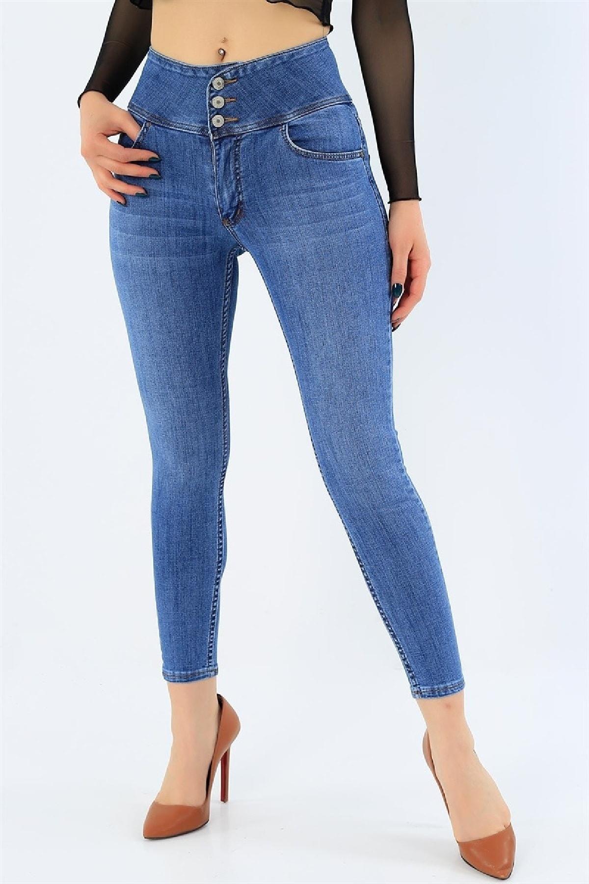 JANES Kadın Mavi Yüksek Bel Jean 2