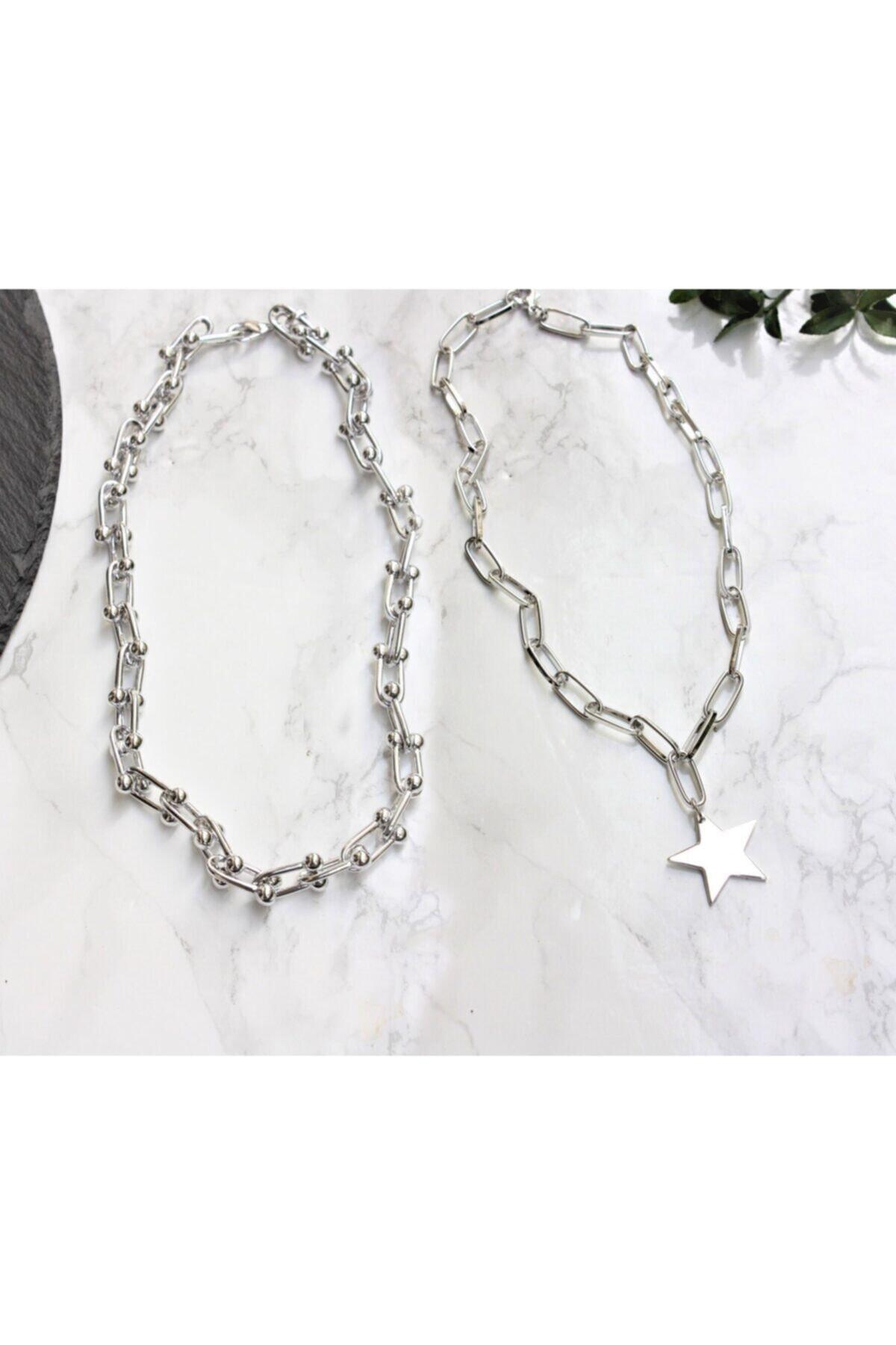 Lal Gümüş Kaplama Ikili Kombin Kolye Yıldız Kolye Ve Blanca Tiffany Kolye 1