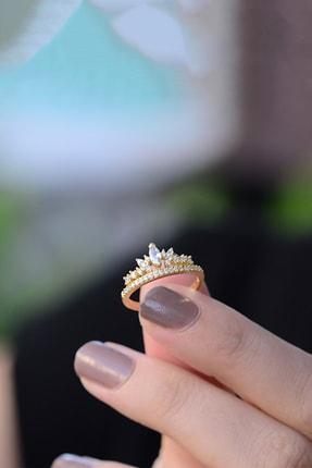 LOTUS GÜMÜŞ Kadın Prenses Tacı Ayarlanabilir 14 K Rose Altın Kaplama Yüzük