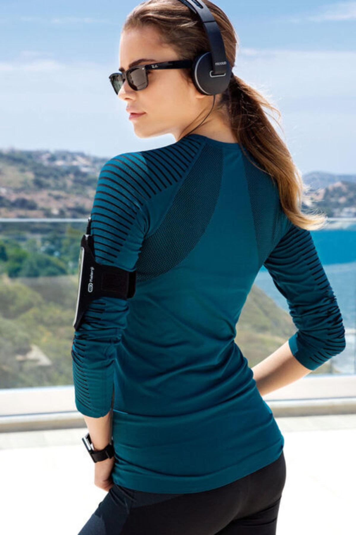 Yeni İnci Kadın Petrol Uzun Kollu Çizgi Detaylı Sporcu T-shirt 2