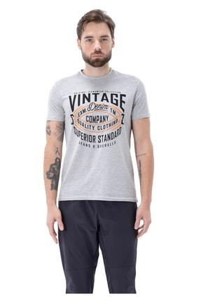 Exuma Erkek Gri Bisiklet Yaka T-shirt