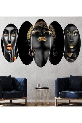 hanhomeart Afrikalı Kadın Parçalı Ahşap Duvar Tablo Seti