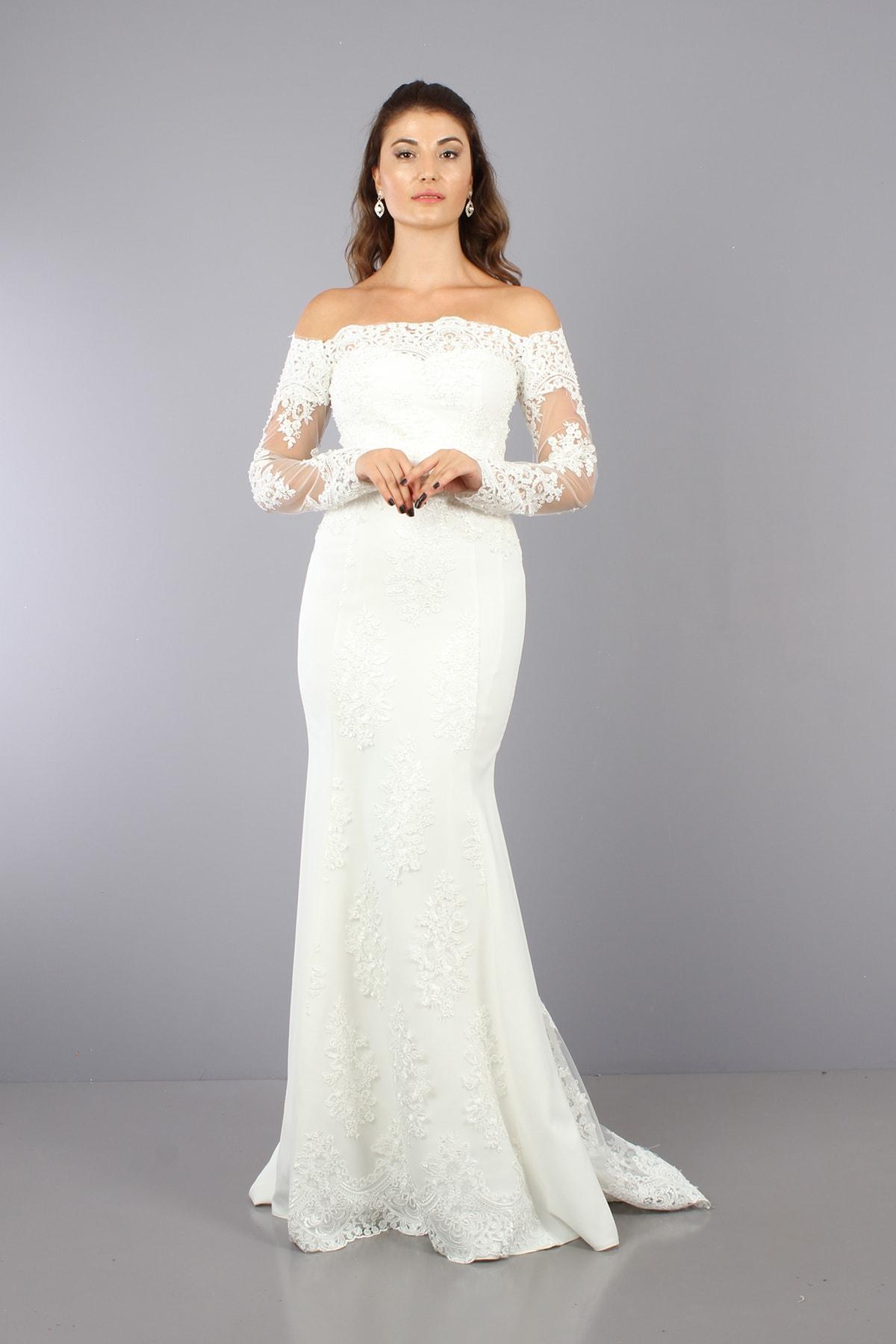 VOLAN Kadın Beyaz Nikahlık Gelinlik Balık Abiye Elbise 1