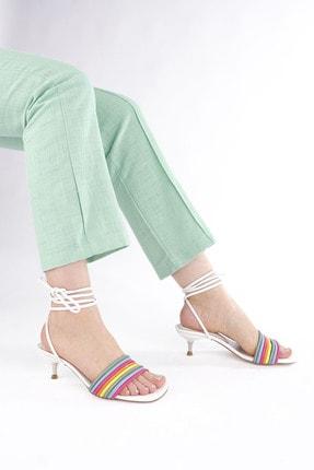 Marjin Kadın Beyaz İpli Topuklu Sandalet Rafode