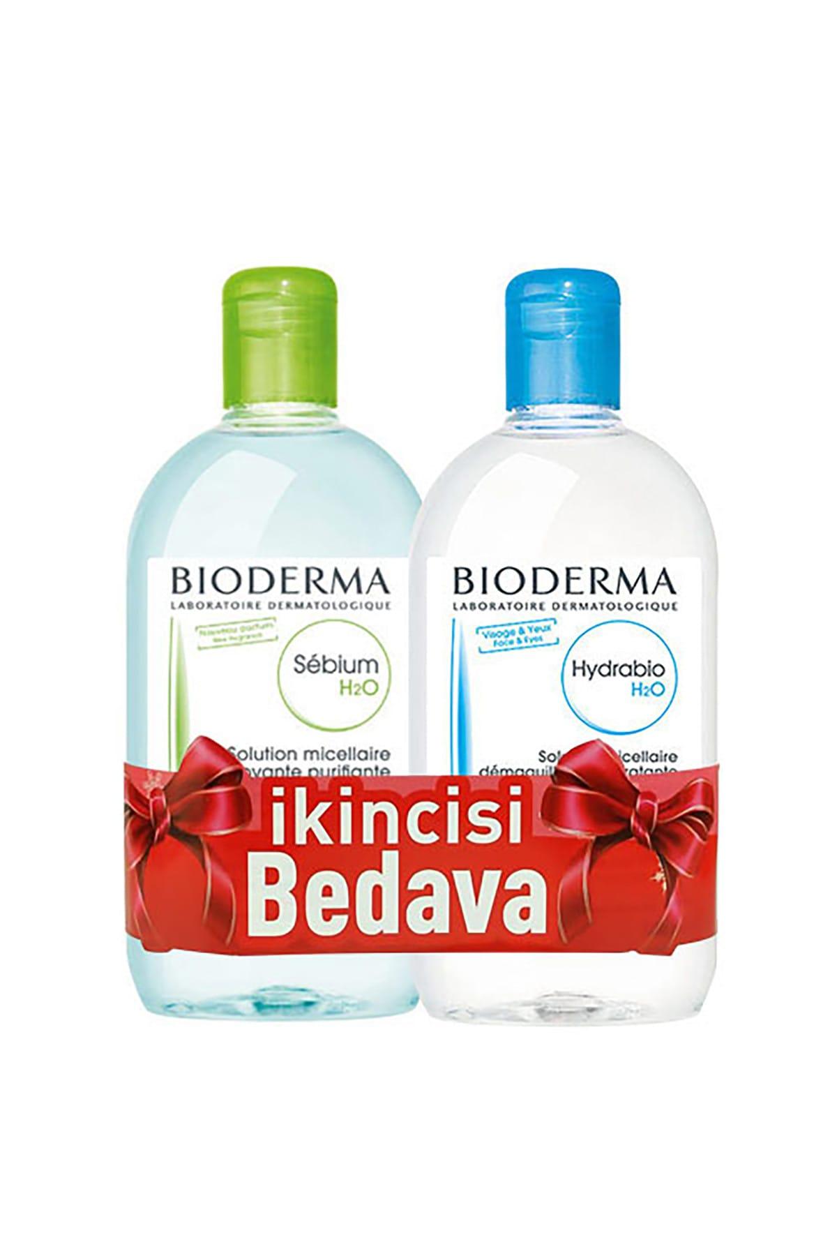 Bioderma Sebium H2O 500 ml + Hydrabio H2O Misel Solüsyon 500 ml sensibio-hydrabio-set 1