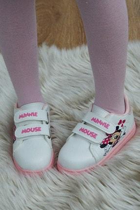 PNR TERLİK Çocuk Beyaz Cırtlı Spor Minnie Mouse Desenli Ayakkabı