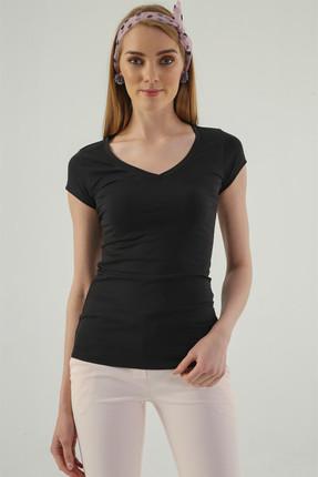 Jument Kadın Siyah Monalisa V Yaka Kısa Kol T-Shirt 5611