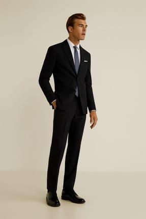 MANGO Man Erkek Siyah Dar Kesim Travel Suit Pantolon 43067023