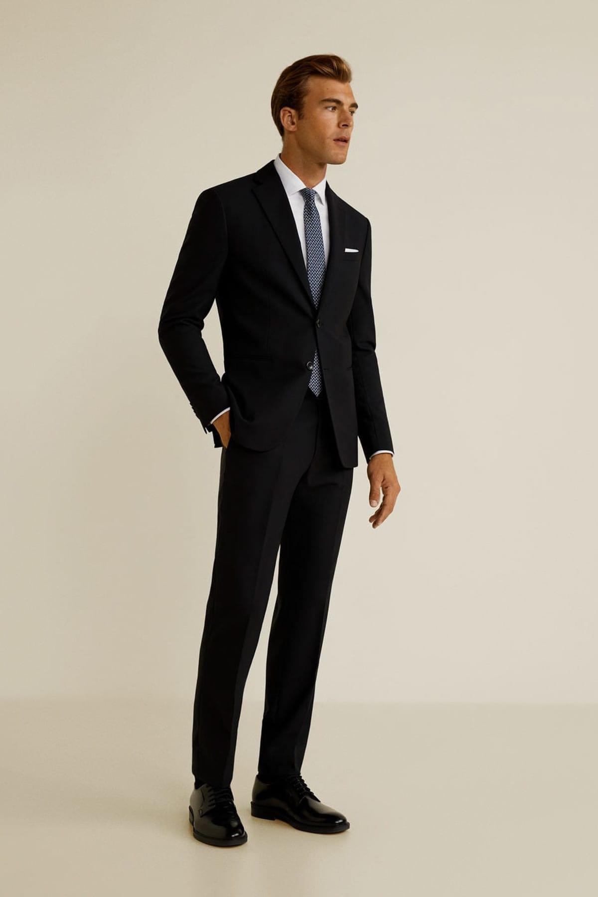 MANGO Man Erkek Siyah Dar Kesim Travel Suit Pantolon 43067023 1