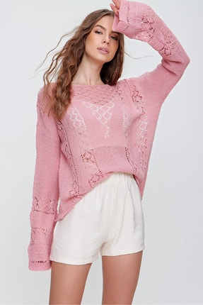 Trend Alaçatı Stili Kadın Pembe Kayık Yaka Ajurlu Triko Bluz ALC-X6200