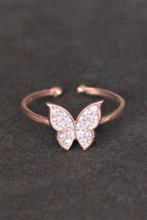 Bella Gloria Kadın Kelebek Rose Gümüş Yüzük TGY0013