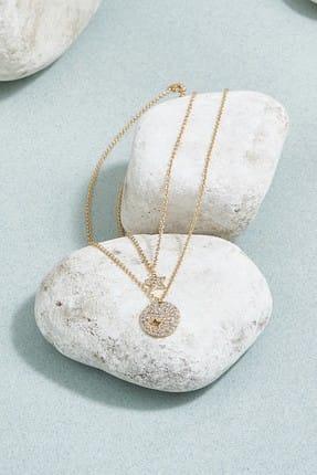 ZİNDİ Kadın Taş Detaylı Zincir Kolye Altın Rengi K-3051002-415
