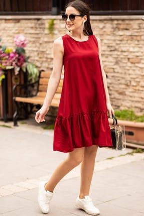 armonika Kadın Bordo Kolsuz Eteği Fırfırlı Elbise ARM-18Y001156