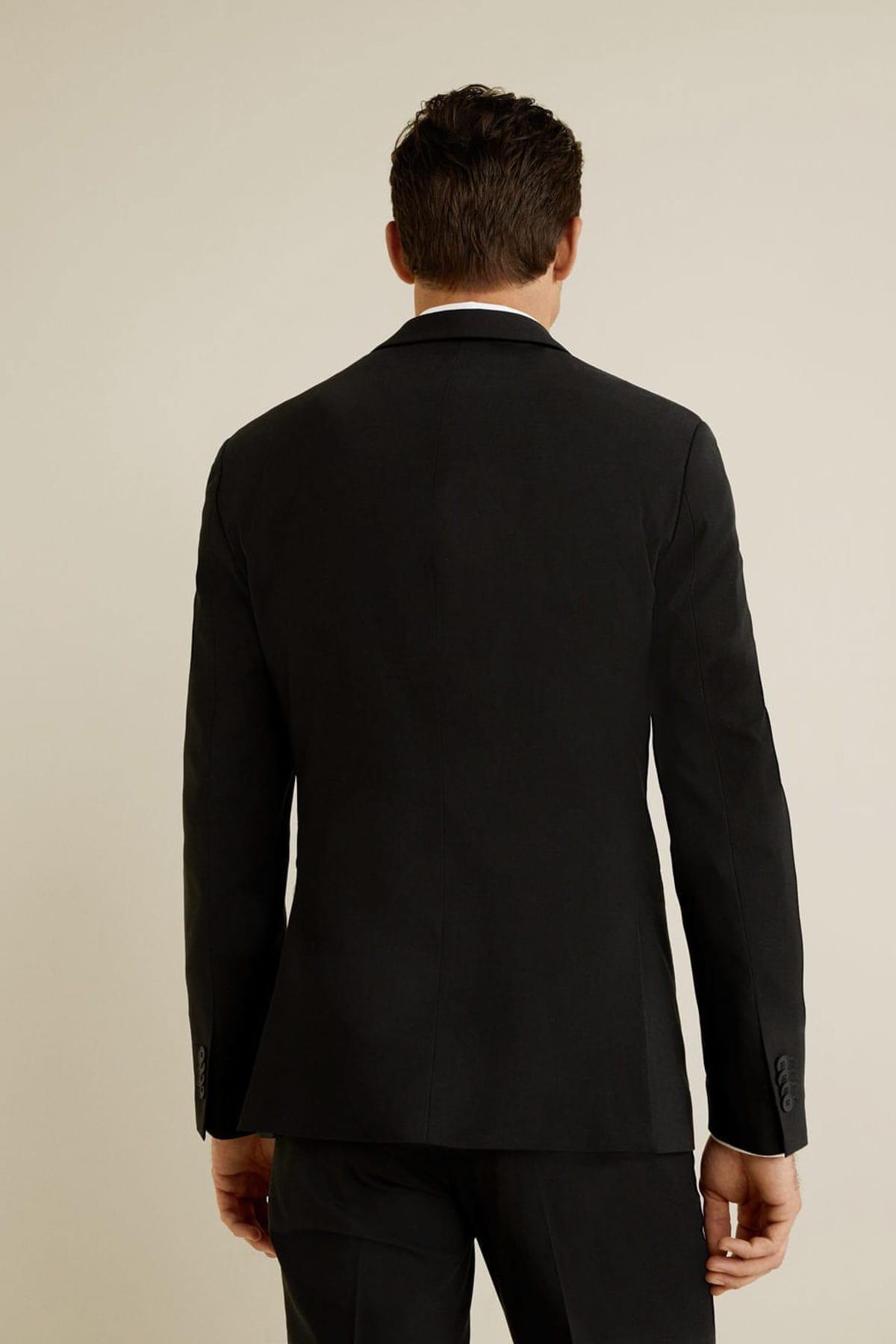 MANGO Man Erkek Siyah Dar Kesim Travel Suit Blazer Ceket 43040566 2