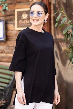 armonika Kadın Siyah Yuvarlak Yaka Geniş Kollu Yanı Yırtmaçlı T-Shirt ARM-19Y012003