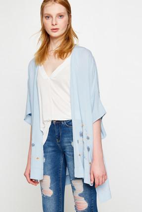 Koton Kadın Mavi Kimono 7YAK58101PW