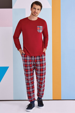 ROLY POLY Plaid With Pocket Erkek Polarlı Pijama Takımı Bordo