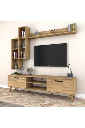 Rani Mobilya A5 Duvar Raflı Kitaplıklı Tv Ünitesi Duvara Monte Dolaplı Modern Ayaklı Tv Sehpası Ceviz M16