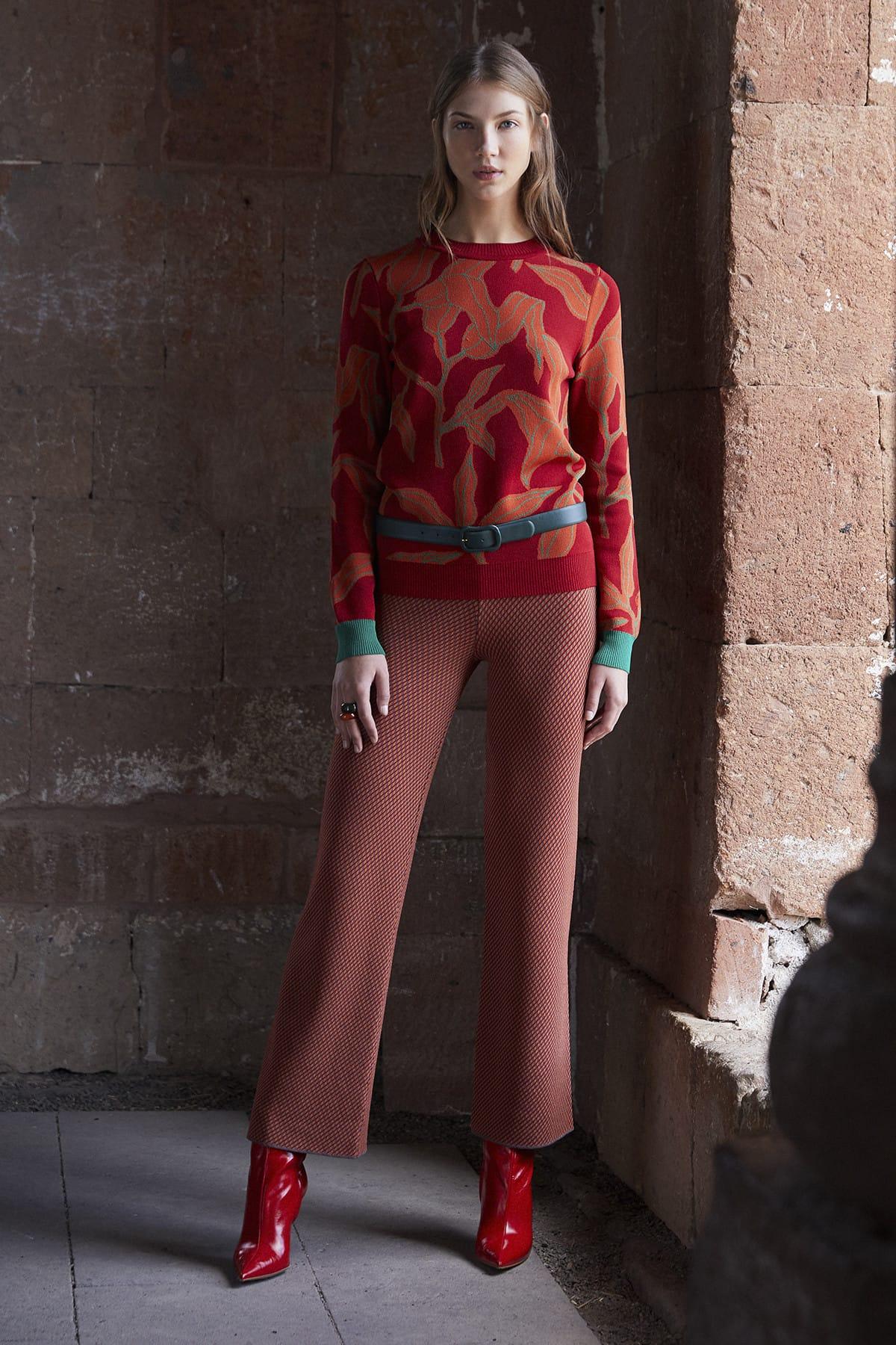 JOIN US Kadın Kahverengi  Desenli Pantolon JU8-9W-700 2