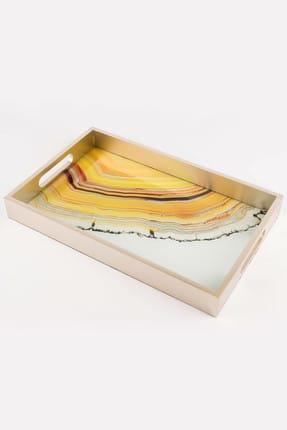 Mikasa Moor Krem Sarı Dikdörtgen Tepsi 25*40 Cm