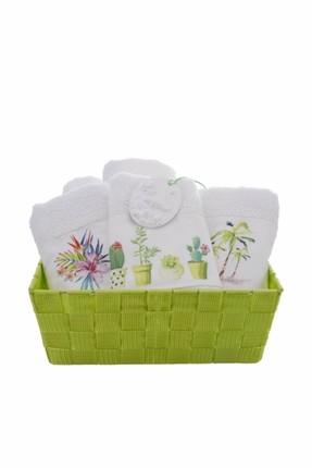 Karaca Home Tropik Yeşil 5'li Sepetli Havlu 30x50 cm
