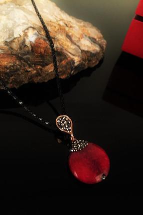 Dr. Stone Kadın Doğaltaş Akik Taşı Rose Altın Kaplama Kolye Krb171