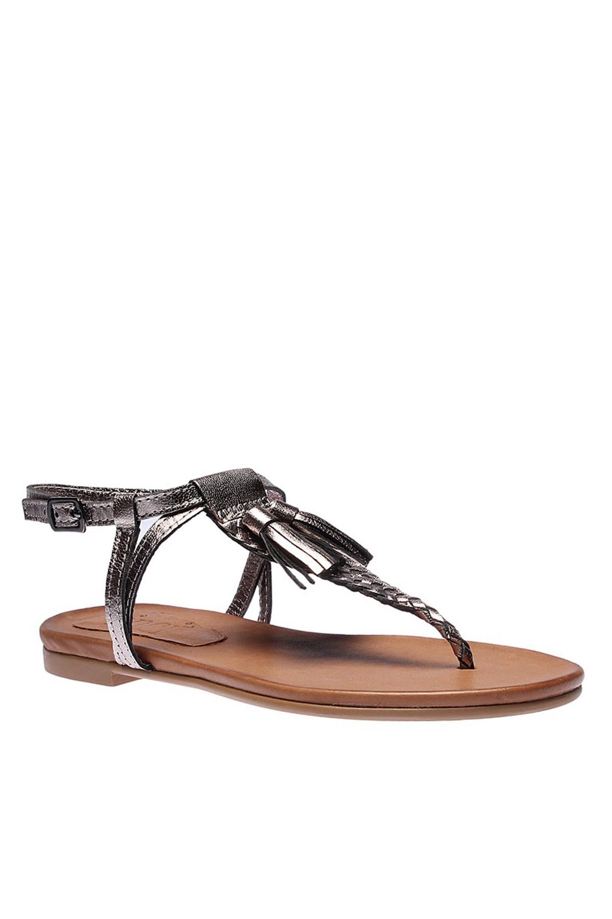 İnci Hakiki Deri Antrasit Kadın Sandalet 120120076038 2