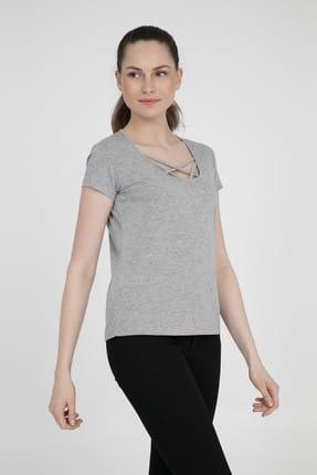 Fashion Friends Kadın Gri T-Shirt - 9Y0483