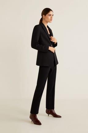 MANGO Woman Kadın Siyah Pilili Takım Pantolonu 41020754