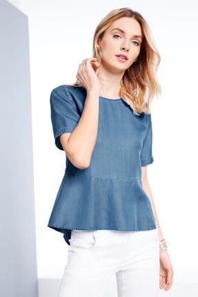 Tchibo Mavi Volanlı Bluz 90316