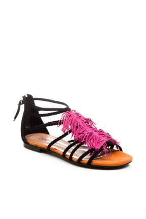 Derimod Hakiki Deri Turuncu Fuşya Kadın Sandalet